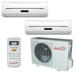 AmericAire Dual 9,000 Btu. R410A 220 Volt Heat Pump Ductless Mini Split